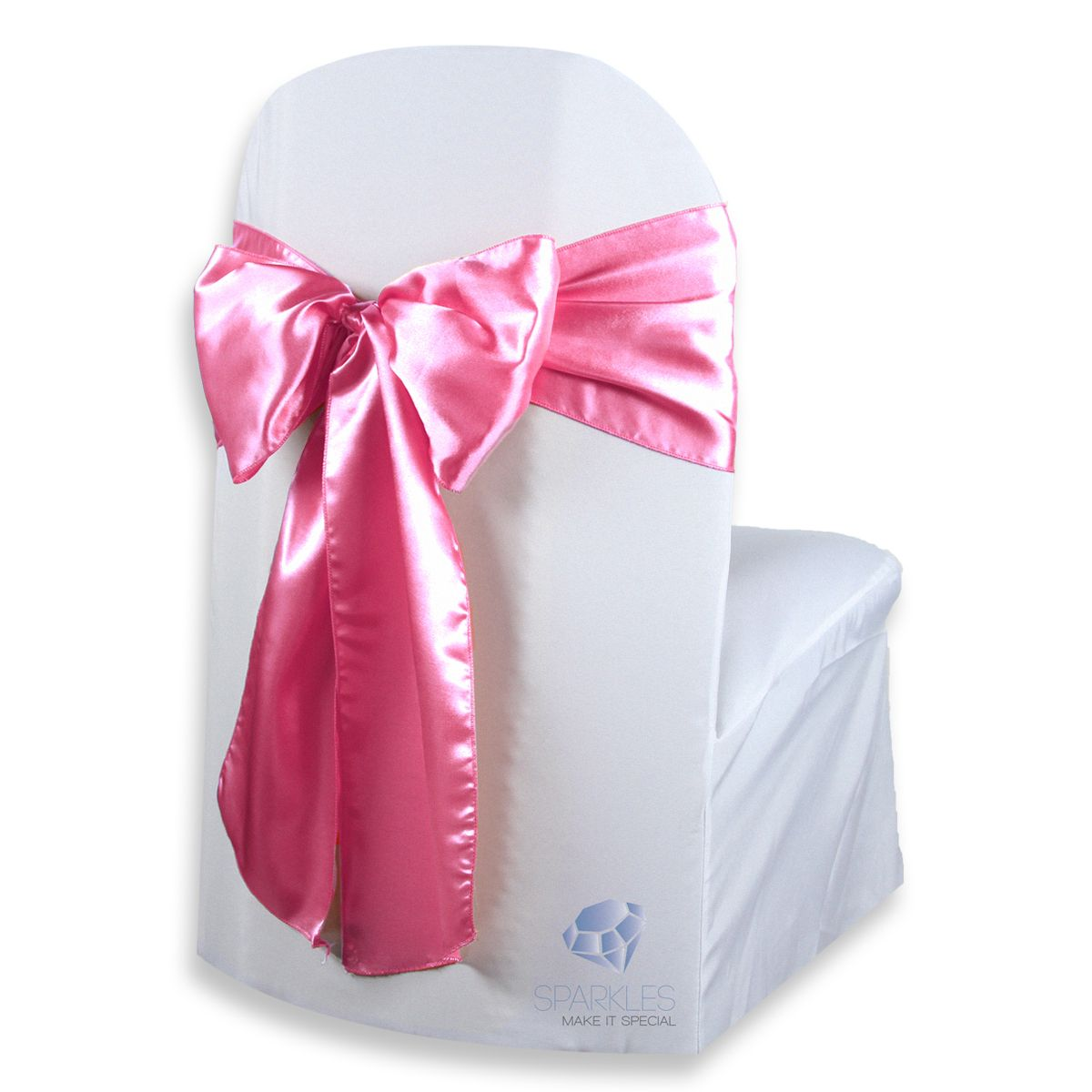 100 pieces hot pink organza chair bow sashes